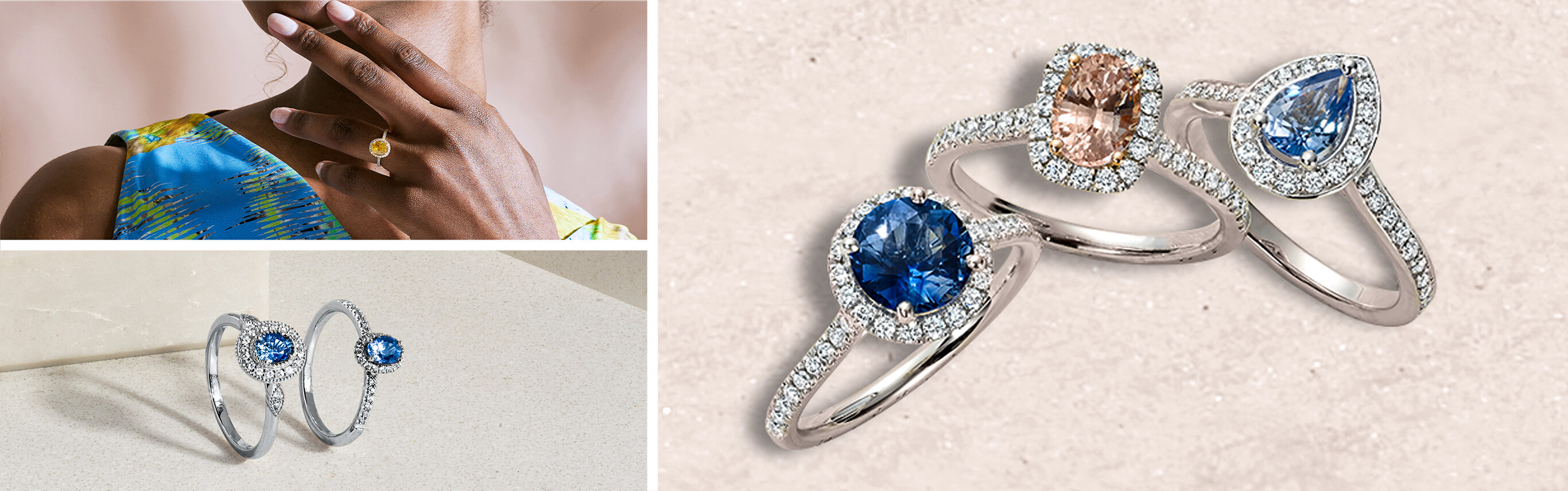 Three Images of Ecksand Sapphire Engagement Rings. Sapphires are light blue, dark blue and pink in colour