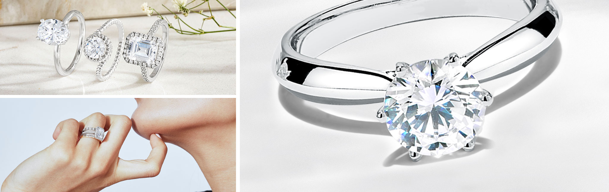 Three images of Ecksand Engagement Rings. All in White Gold with Diamonds