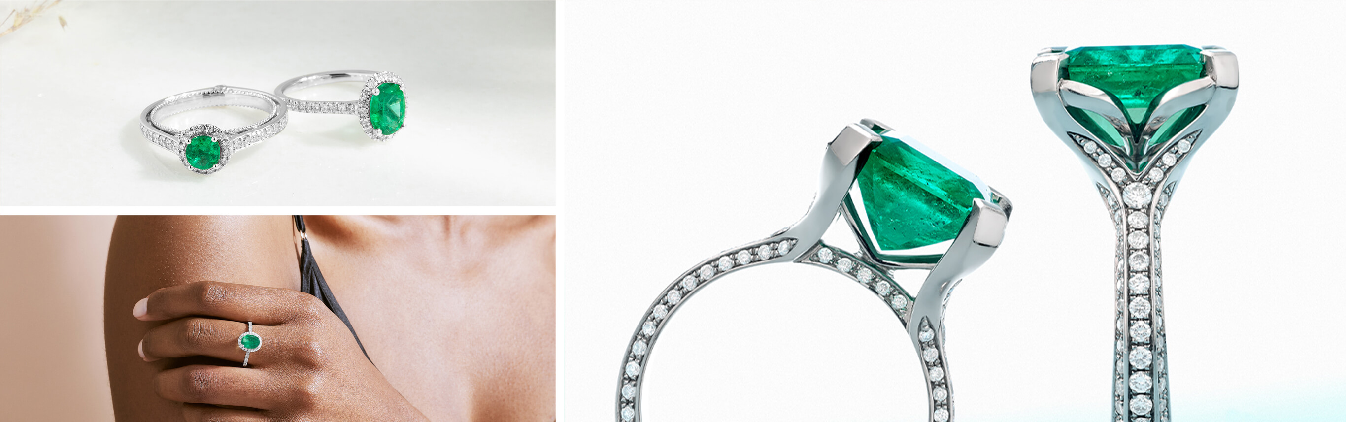 Three Images of Bright Green Ecksand Emerald Engagement Rings