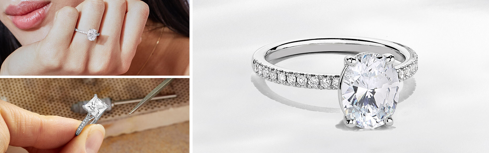 Three Images of Ecksand Solitaire with Diamond Band Engagement Rings in White Gold