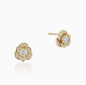 Front View of the Ecksand Blossom Diamond Pavé Flower Earrings