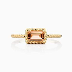Front View of the Ecksand Tresses Twisted Topaz Stackable Ring