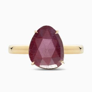 Front View of Ruby Cocktail Ring from Ecksand's Mosaic Collection in Rose Gold