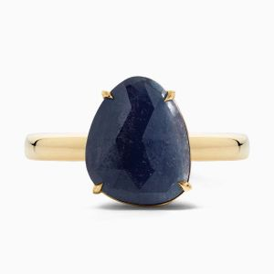 Front View of Blue Sapphire Cocktail Ring from Ecksand's Mosaic Collection in Yellow Gold