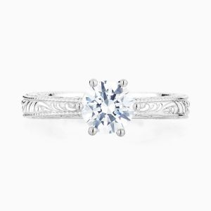 Front View of the Ecksand Vintage Filigree Round Cut Diamond Solitaire Engagement Ring