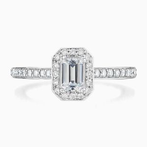 Front View of the Ecksand Pavé Emerald Cut Diamond Halo Engagement Ring with Diamond Band