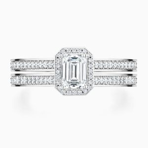 Ecksand Emerald Cut Engagement Ring Double Band Face