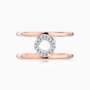 Nude Double Band Diamond Cushion Ring