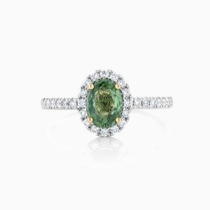 Ecksand Green Sapphire Engagement Ring Face