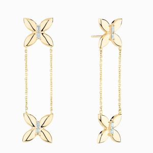 Ecksand dangle yellow gold butterfly earrings face