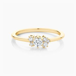 Ecksand yellow gold cluster round cut diamond ring face