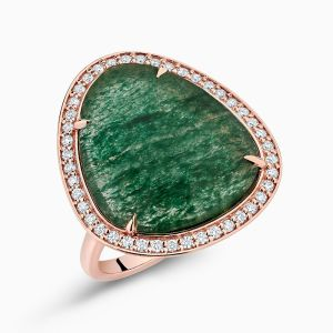 Angle view of Aventurine Cocktail Ring With Diamond Pavé from Ecksand's Mosaic Collection in Rose Gold