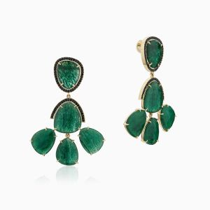Front and angle view of Aventurine Dangle Earrings With Black Spinel Pavé from Ecksand's Mosaic Collection in Yellow Gold