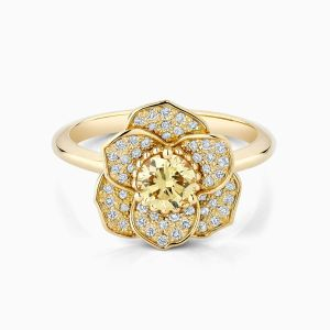 Front View of the Ecksand Blossom Yellow Diamond Flower Ring