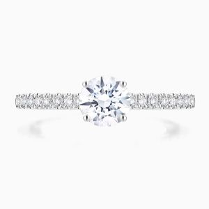 Front View of the Ecksand Hidden Diamond Round Cut Diamond Solitaire Engagement Ring with Hidden Diamond and Diamond Band