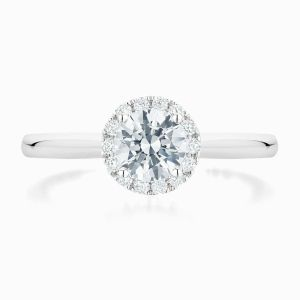 Front View of the Ecksand Secret Heart Round Cut Diamond Halo Engagement Ring with Secret Heart