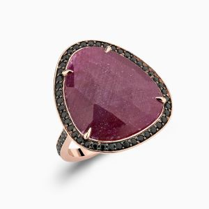 Angle View of Ruby Cocktail Ring With Black Spinel Pavé from Ecksand's Mosaic Collection in Rose Gold