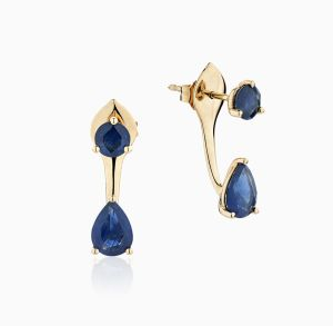 Front View of the Ecksand Pure Gemstone Jacket Blue Sapphire Earrings