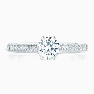 Front View of the Ecksand Vintage Milgrain Round Cut Diamond Solitaire Engagement Ring with Diamond Band