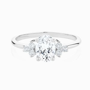 The Front View of the Ecksand Vintage Oval Diamond Engagement Ring in White Gold with Side Diamonds