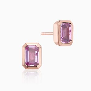 Ecksand pink spinel stud earrings face
