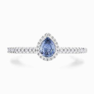 Blue Pear Diamond Halo Engagement Ring