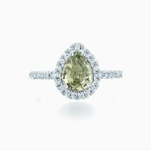Pear Shape Green Sapphire Halo Engagement Ring