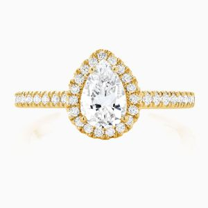 Front View of the Ecksand Pavé Pear Cut Diamond Halo Engagement Ring with Diamond Band