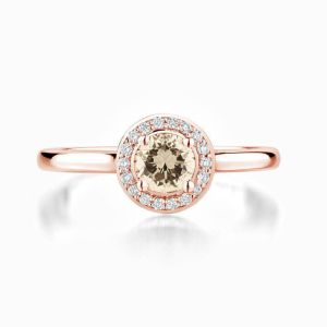 Ecksand halo round champagne diamond engagement ring rose gold face