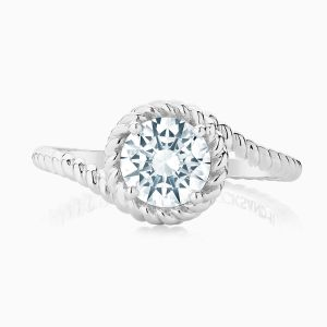 Front View of the Ecksand Tresses Twisted Shank Round Cut Diamond Halo Engagement Ring