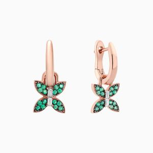 Front View of the Ecksand Wild Diamond Butterfly Dangle Earrings with Emerald Pavé