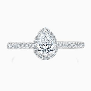 Ecksand Pear Halo Engagement Ring Face
