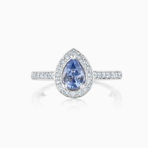 Ecksand Halo Pear Cut Engagement Ring Face