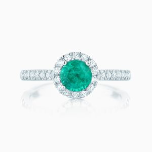 Ecksand emerald halo engagement ring face