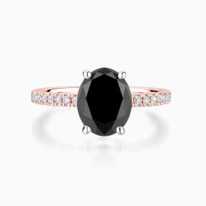 Oval Black Diamond Ring in Rose Gold Face
