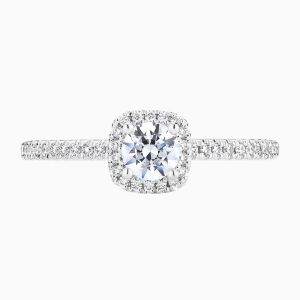 Face View of the Ecksand Cushion halo round diamond engagement ring in white gold