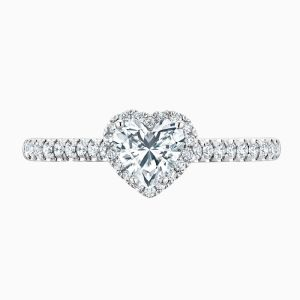 Front View of the Ecksand Pavé Heart Cut Diamond Halo Engagement Ring with Diamond Band
