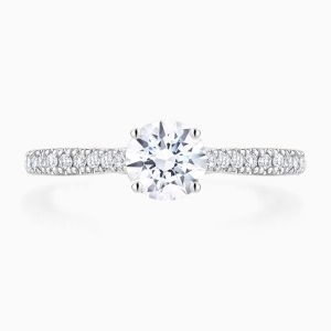 Front View of the Ecksand Secret Heart Pavé Round Cut Diamond Solitaire Engagement Ring With Secret Heart and Diamond Band