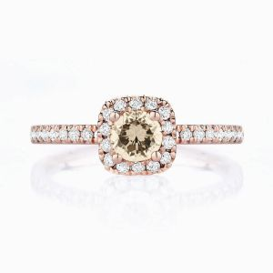 Front View of the Ecksand Pavé Halo Cushion Champagne Diamond Engagement Ring with Diamond Band