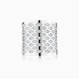 Front View of the Ecksand Pure Diamond Cascading Diamond Cuff Ring