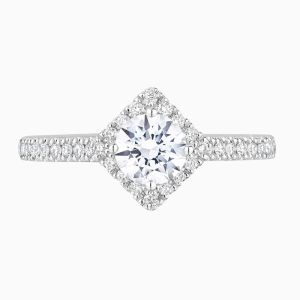 Front View of the Ecksand Pavé Round Cut Diamond Square Halo Engagement Ring with Diamond Band