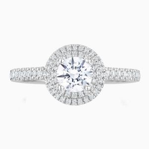 Ecksand Round Diamond With Double Halo Engagement Ring Face