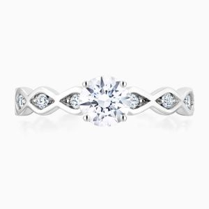 Front View of the Ecksand Pomme de Pin Round Cut Diamond Solitaire Engagement Ring with Marquise Band