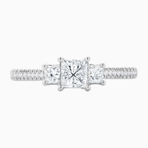 The Face View Ecksand Three stone princess cut engagement ring in White Gold