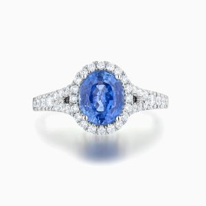Ecksand Split Shank Halo Engagement Ring Face