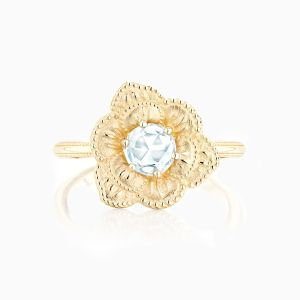 Ecksand Vintage Flower Engagement Ring Face