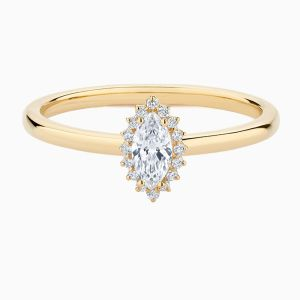 Front View of the Ecksand Pavé Marquise Cut Diamond Halo Engagement Ring