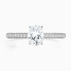 Front View of the Ecksand Pavé Oval Diamond Engagement Ring With Diamond Band and Setting