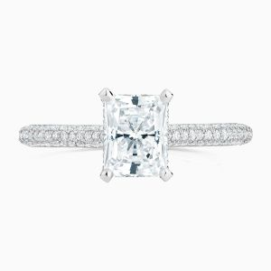 Front View of the Ecksand Pavé Radiant Cut Diamond Solitaire Engagement Ring with Diamond Band
