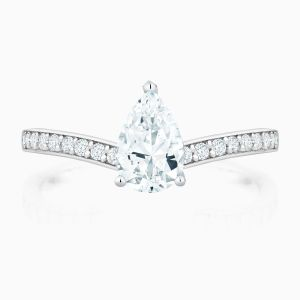 Front View of the Ecksand Pear Cut Diamond Solitaire Engagement Ring with Bright Cut Diamond Band